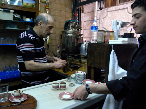 Mehmet Pilik, Mandabatmaz's Turkish coffee master -- photo by Nicki Sobecki