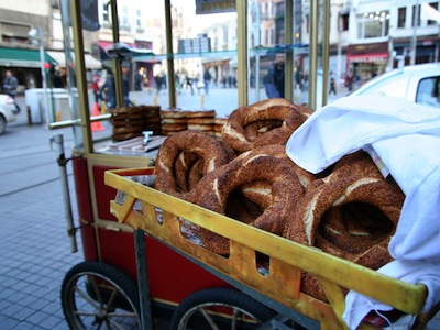 A simit cart in Istanbul, photo by Yigal Schleifer