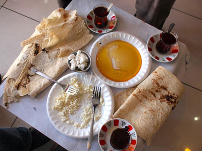 Breakfast at Yalçın Kaya's cheese shop in Erzincan, photo by Yigal Schleifer