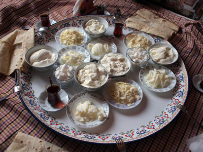 Veli Gürbüz's yogurt, butter, tulum and sac ekmeği, photo by Yigal Schleifer