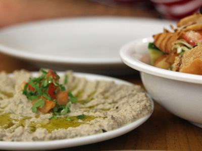 Şam Şerif's baba ghanoush and fattoush, photo by Vedat Bonfil