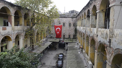 One of Istanbul's old hans, still from video by Monique Jaques